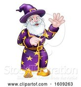 Vector Illustration of Happy Cartoon Wizard Waving and Pointing by AtStockIllustration