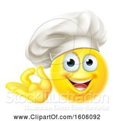Vector Illustration of Happy Cartoon Yellow Emoji Chef Gesturing Perfect or Ok by AtStockIllustration
