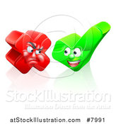 Vector Illustration of Happy Check Mark and Mad X Mark Characters by AtStockIllustration