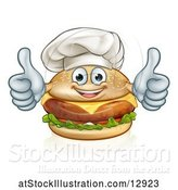 Vector Illustration of Happy Cheeseburger Chef Character Giving Two Thumbs up by AtStockIllustration