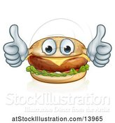 Vector Illustration of Happy Cheeseburger Mascot Holding Two Thumbs up by AtStockIllustration