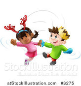Vector Illustration of Happy Children Dancing to Christmas Music by AtStockIllustration