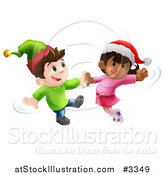 Vector Illustration of Happy Children Wearing Hats and Dancing to Christmas Music by AtStockIllustration