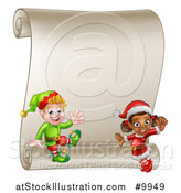 Vector Illustration of Happy Christmas Elves by a Blank Scroll Sign by AtStockIllustration