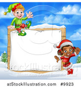 Vector Illustration of Happy Christmas Elves by a Wooden Sign in a Winter Landscape by AtStockIllustration