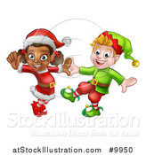 Vector Illustration of Happy Christmas Elves Dancing by AtStockIllustration