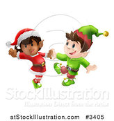 Vector Illustration of Happy Christmas Elves Dancing Together by AtStockIllustration