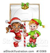 Vector Illustration of Happy Christmas Elves Under a Blank Sign by AtStockIllustration