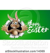 Vector Illustration of Happy Easter Greeting by a Brown Bunny Rabbit Breaking Through a Hole in a Wall, over Green by AtStockIllustration