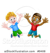 Vector Illustration of Happy Excited Boys Jumping by AtStockIllustration