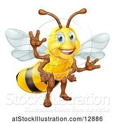 Vector Illustration of Happy Friendly Bee Mascot Waving by AtStockIllustration