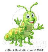 Vector Illustration of Happy Green Caterpillar by AtStockIllustration