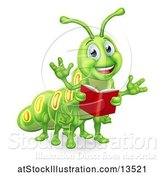 Vector Illustration of Happy Green Caterpillar Holding a Book by AtStockIllustration