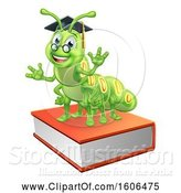 Vector Illustration of Happy Green Caterpillar Professor on Books by AtStockIllustration
