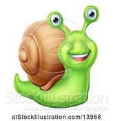Vector Illustration of Happy Green Snail by AtStockIllustration