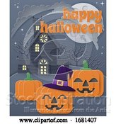Vector Illustration of Happy Halloween Haunted House Pumpkin Background by AtStockIllustration
