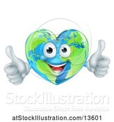 Vector Illustration of Happy Heart Shaped Earth Globe Character Giving Two Thumbs up by AtStockIllustration