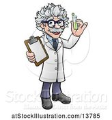Vector Illustration of Happy Male Scientist Holding a Test Tube and Clipboard by AtStockIllustration