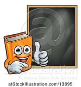 Vector Illustration of Happy Orange Book Mascot Giving a Thumb up by a Black Board by AtStockIllustration