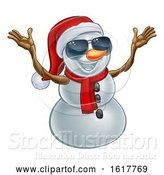 Vector Illustration of Happy Snowman Wearing a Santa Hat and Sunglasses by AtStockIllustration