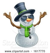 Vector Illustration of Happy Snowman Wearing a Top Hat and Sunglasses by AtStockIllustration