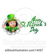 Vector Illustration of Happy St Patricks Day Greeting by a Leprechaun Breaking Through a Wall by AtStockIllustration