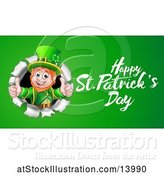 Vector Illustration of Happy St Patricks Day Greeting by a Leprechaun Breaking Through a Wall on Green by AtStockIllustration