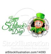 Vector Illustration of Happy St Patricks Day Greeting by a Leprechaun Giving Two Thumbs up and Breaking Through a Wall by AtStockIllustration