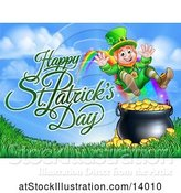 Vector Illustration of Happy St Patricks Day Greeting by a Leprechaun Jumping over a Pot of Gold at the End of a Rainbow by AtStockIllustration