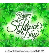 Vector Illustration of Happy St Patricks Day Greeting in a Border of Shamrocks by AtStockIllustration