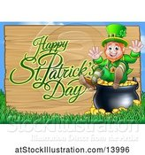 Vector Illustration of Happy St Patricks Day Greeting on a Wood Sign by a Leprechaun Sitting on a Pot of Gold by AtStockIllustration