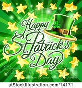 Vector Illustration of Happy St Patricks Day Greeting over a Green Ray Burst with Stars and a Leprechaun Hat by AtStockIllustration