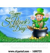 Vector Illustration of Happy St Patricks Day Greeting with a Leprechaun at the End of the Rainbow by AtStockIllustration
