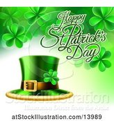 Vector Illustration of Happy St Patricks Day Greeting with a Leprechaun Hat and Shamrocks by AtStockIllustration