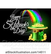 Vector Illustration of Happy St Patricks Day Greeting with a Leprechaun Hat Full of Gold Coins at the End of a Rainbow, on Black by AtStockIllustration