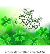 Vector Illustration of Happy St Patricks Day Greeting with Shamrocks by AtStockIllustration
