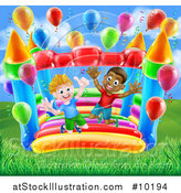 Vector Illustration of Happy White and Black Boys Jumping on a Bouncy House Castle by AtStockIllustration