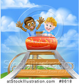 Vector Illustration of Happy White and Black Boys on a Roller Coaster Ride, Against a Blue Sky with Clouds by AtStockIllustration