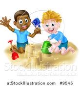 Vector Illustration of Happy White and Black Boys Playing and Making Sand Castles on a Beach by AtStockIllustration