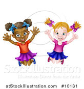 Vector Illustration of Happy White and Black Girls Jumping by AtStockIllustration