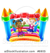 Vector Illustration of Happy White and Black Girls Jumping on a Bouncy House Castle by AtStockIllustration