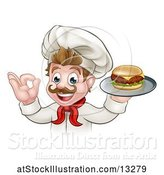 Vector Illustration of Happy White Male Chef Gesturing Ok and Holding a Cheeseburger on a Tray by AtStockIllustration