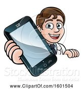 Vector Illustration of Happy White Male Scientist Holding a Cell Phone over a Sign by AtStockIllustration