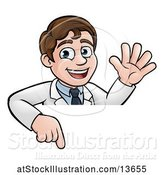 Vector Illustration of Happy White Male Scientist Waving and Pointing down over a Sign by AtStockIllustration