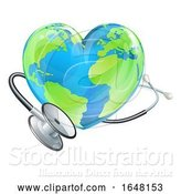 Vector Illustration of Health Concept Stethoscope Heart Earth World Globe by AtStockIllustration