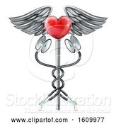 Vector Illustration of Heart Caduceus Stethoscope Medical Icon Concept by AtStockIllustration
