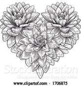 Vector Illustration of Heart Flower Love Floral Engraved Etching by AtStockIllustration