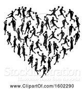 Vector Illustration of Heart Made of Black Silhouetted Basketball Players by AtStockIllustration