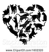 Vector Illustration of Heart Made of Black Silhouetted Cats by AtStockIllustration