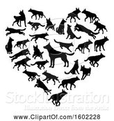 Vector Illustration of Heart Made of Black Silhouetted German Shepherd Dogs by AtStockIllustration